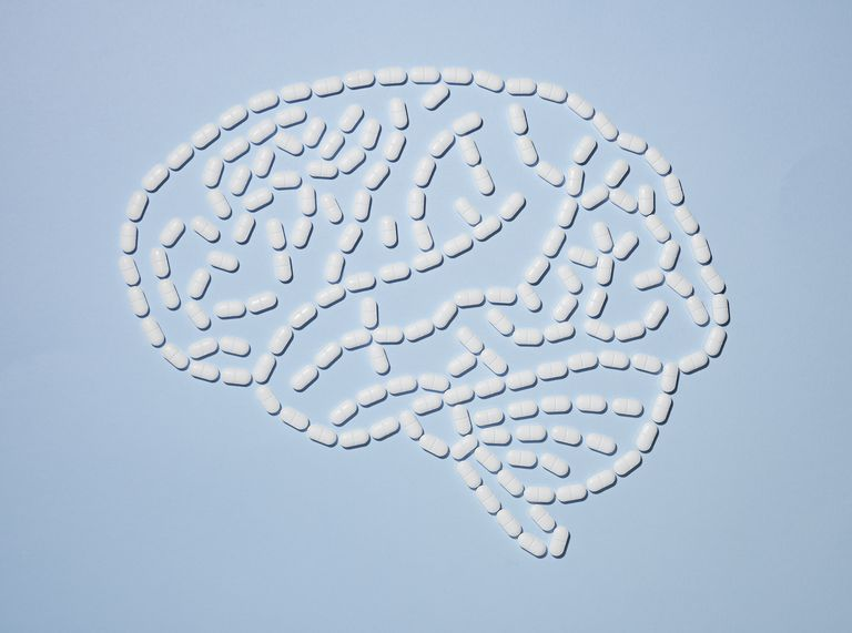 Pills in the shape of a brain