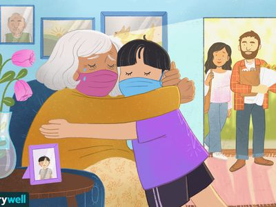 drawing of child hugging grandmother, both characters are wearing masks