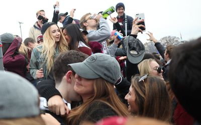NEW HAVEN, CONNECTICUT - NOVEMBER 18: Students tailgating before the Yale V Harvard, Ivy League Football match at the Yale Bowl. The game was the 134th meeting between Harvard and Yale, a historic rivalry that dates back to 1875. New Haven, Connecticut. 18th November 2017.