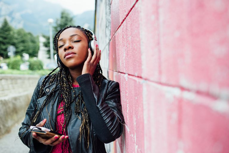 woman listening to music for stress relief