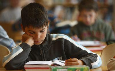 boy reading book in school