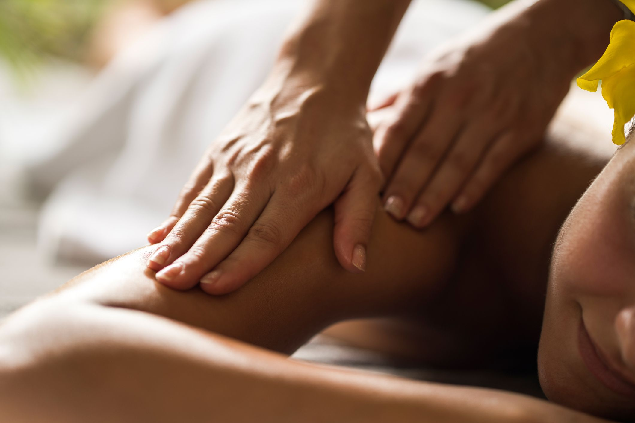 Person receiving arm massage