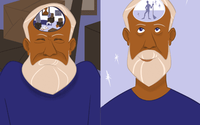 Illustration of a person's mental state before and after decluttering