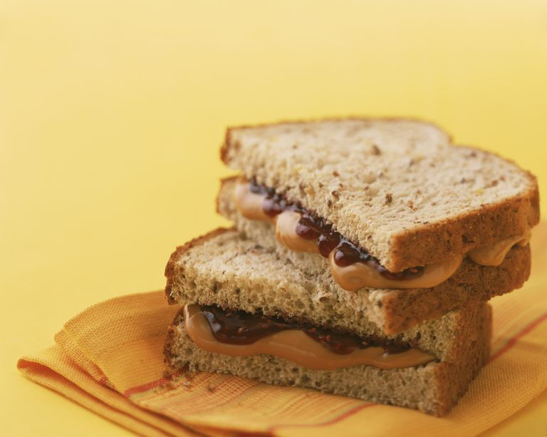 Peanut butter and jelly sandwich on whole grain bread