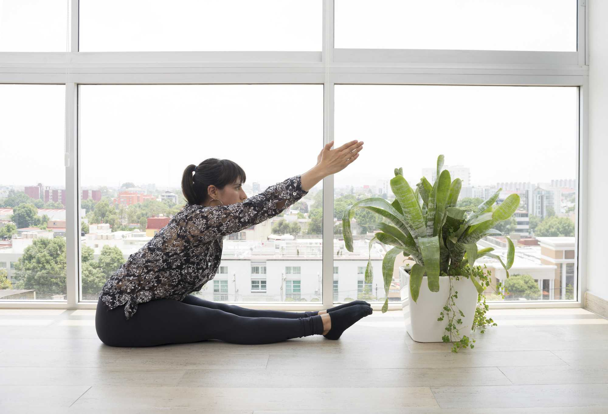 Woman doing pilates excercise
