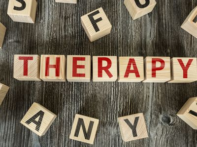 Blocks that spell out therapy.