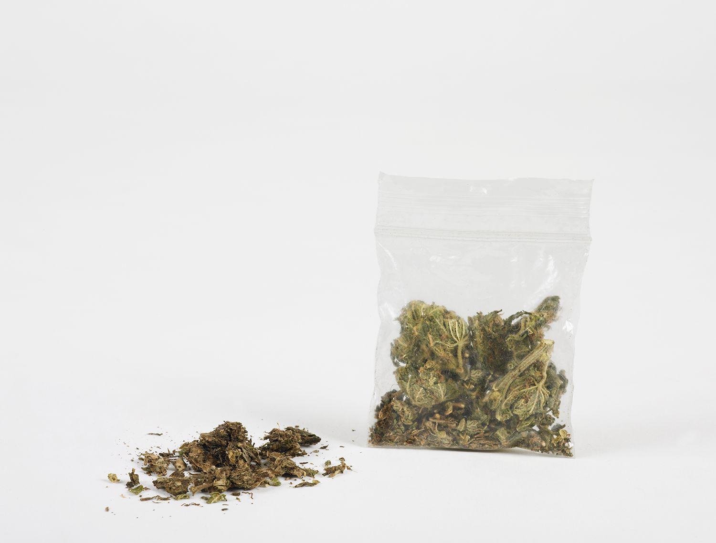 Marijuana in plastic bag, close-up
