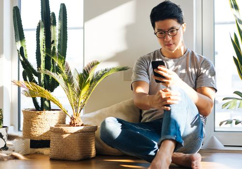 Young Man Using Smartphone At Home With Plants