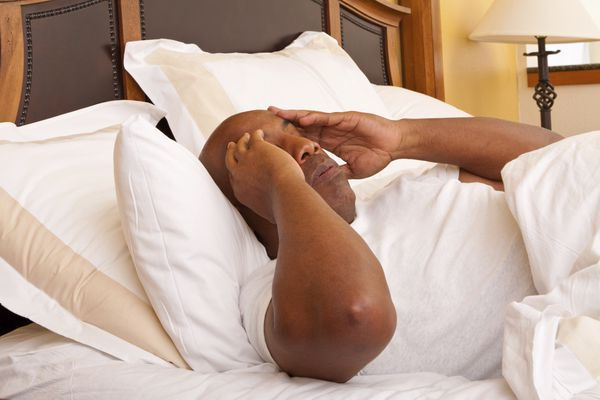 man waking up from nightmare in bed