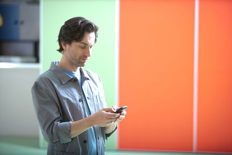 man checking his smartphone