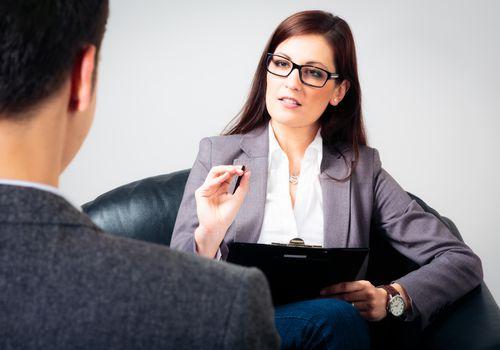 Man talking to his psychologist