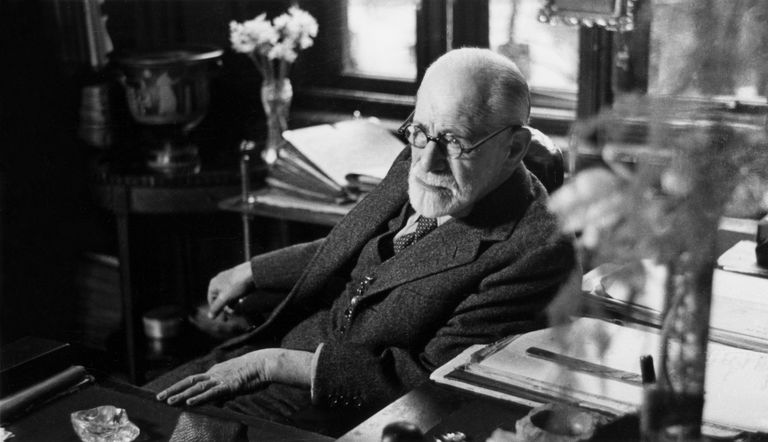 Sigmund Freud in his office.
