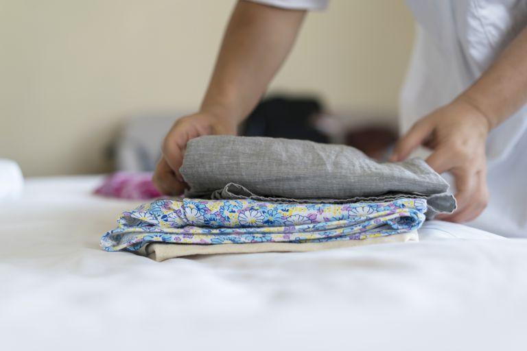 Arranging clean clothes