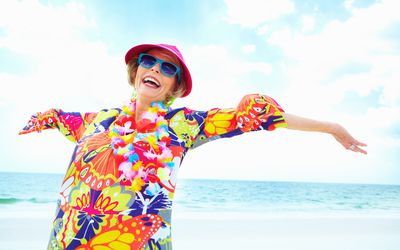 Woman wearing very brightly colored clothing