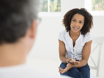 Woman talking at interview