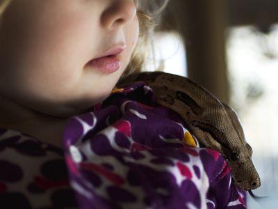 A little girl holding a snake