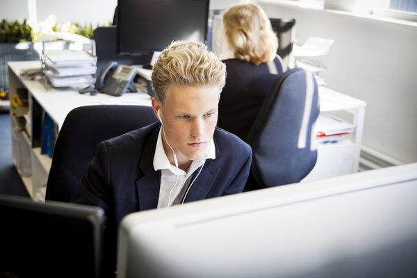 Young business man working at his desk