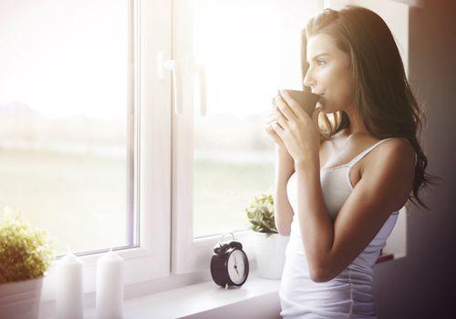 Enjoying a morning coffee