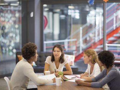 four young business people meeting at table