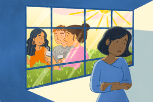 illustration of woman inside while friends are gathering outside