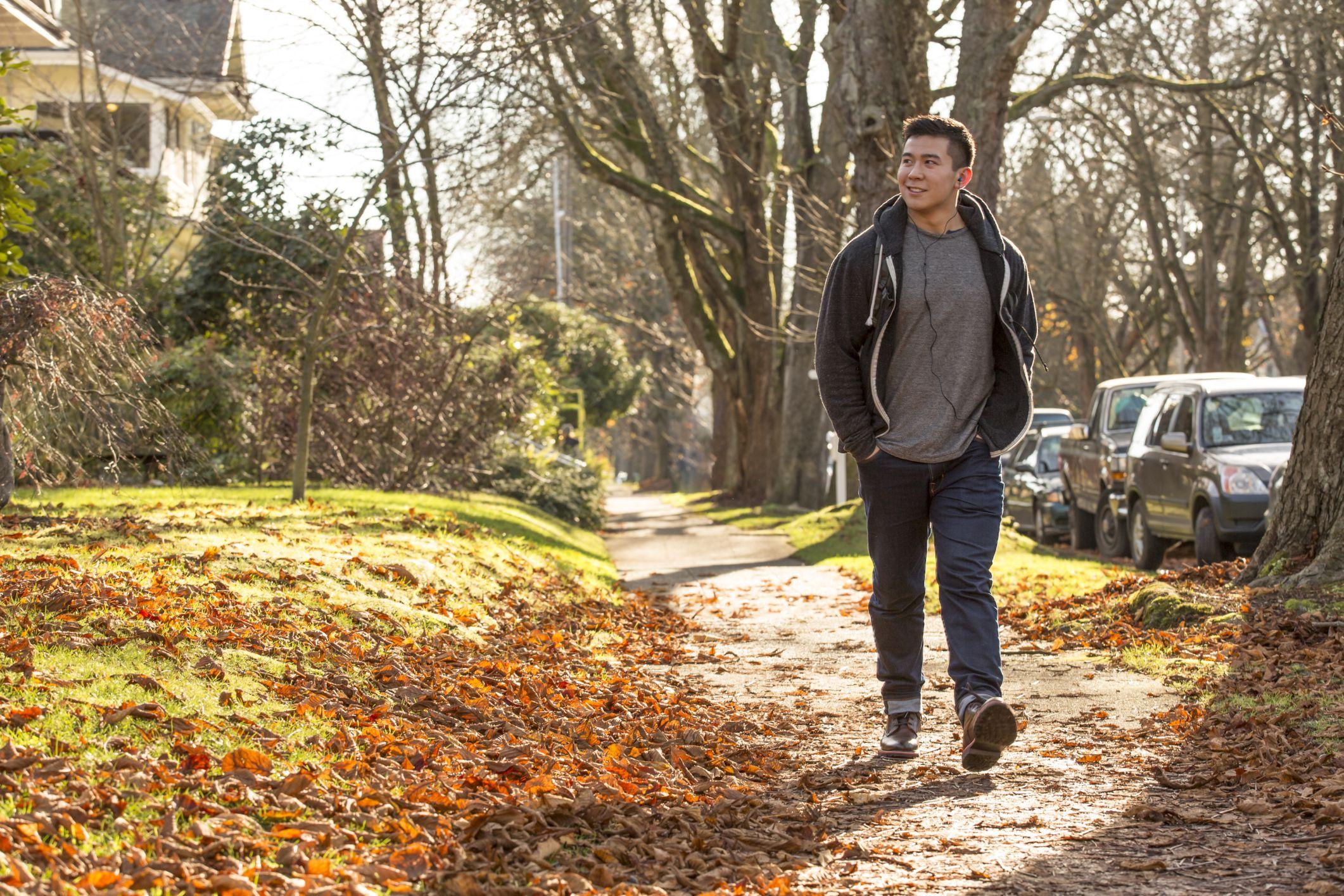 Man walking outside.