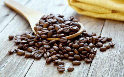 Closeup coffee beans which contain caffeine