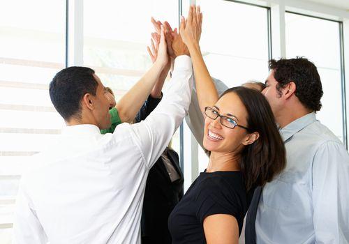 People celebrating at work