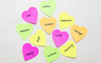 Cut out hearts with different moral principles written on them.
