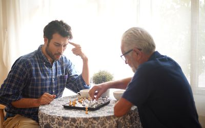 chess playing with family