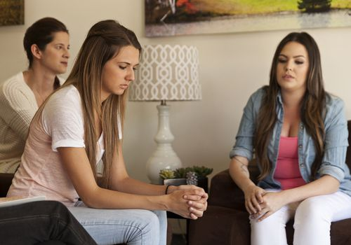 Caucasian women talking in group therapy