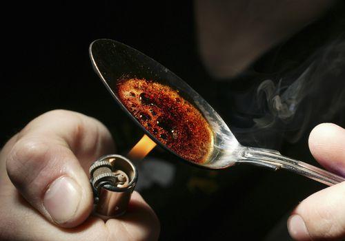 heroin in a spoon
