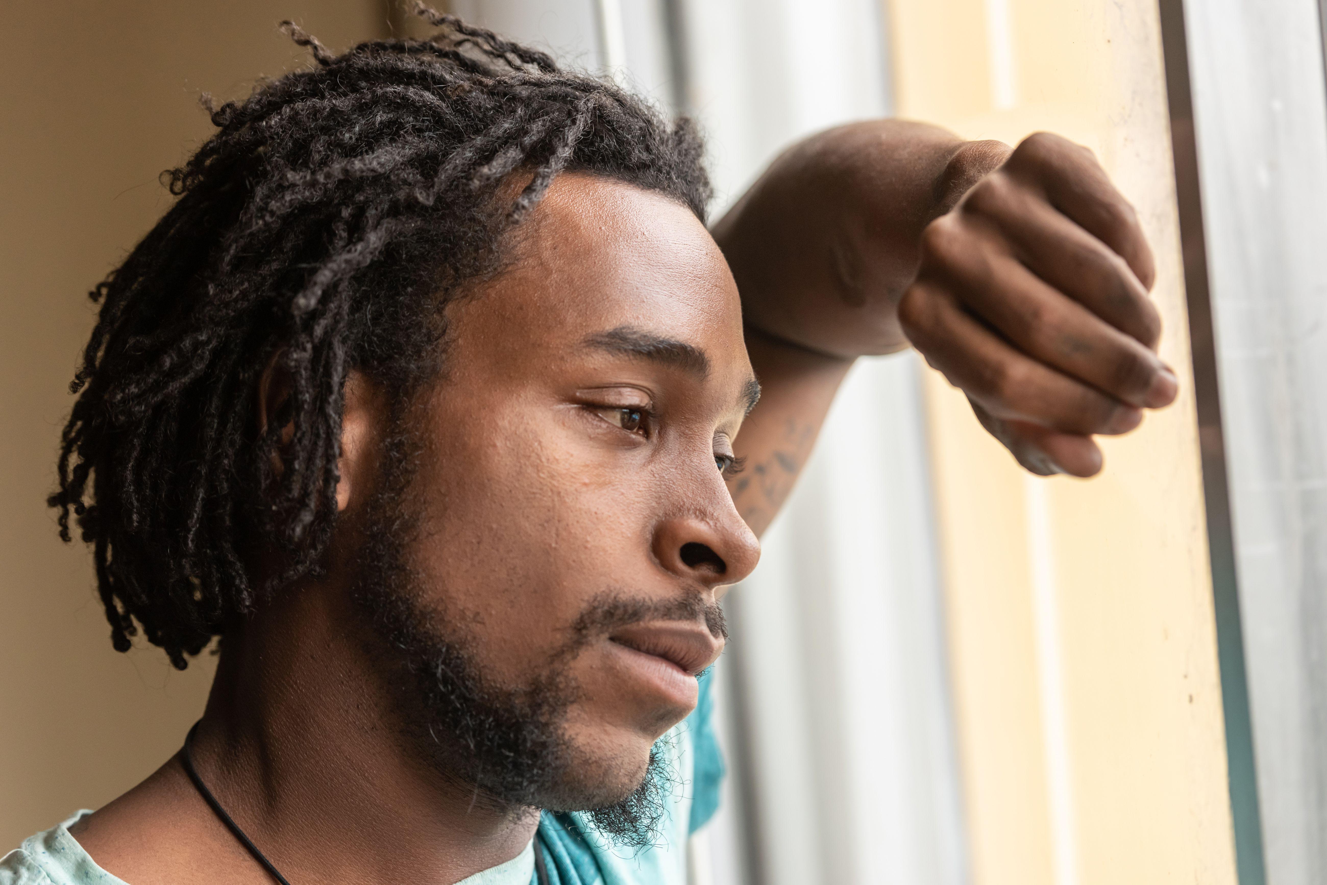 Sad Afro american man