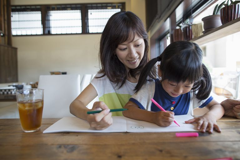 an Asian woman and little girl drawing together