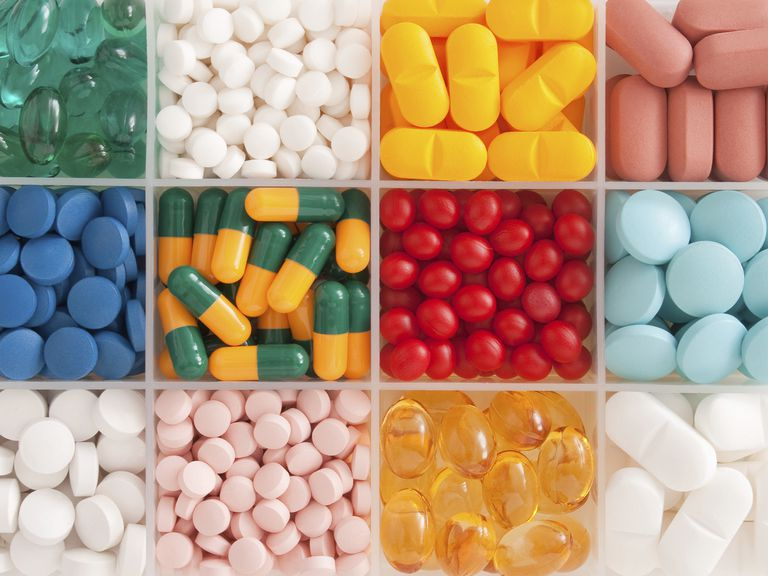colorful pills in container
