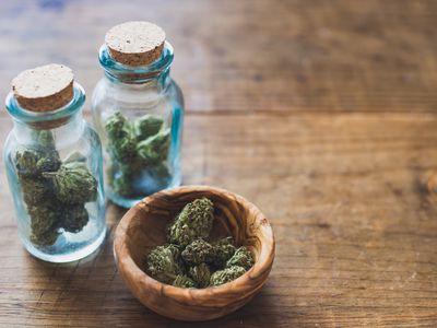 Marijuana in two jars