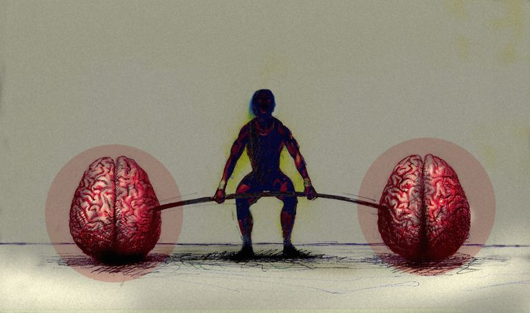 Illustration of man lifting barbell with brains as weights