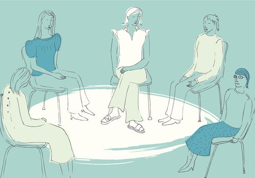 illustration of women sitting in a circle