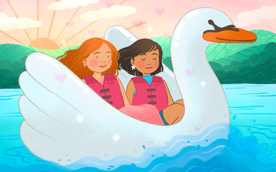 couple on a date in a swan boat