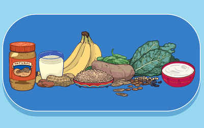 Magnesium-rich foods including peanut butter, milk, nuts, bananas, whole grains, potatoes, spinach, leafy greens, and yogurt