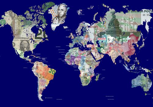 World Map in Currencies
