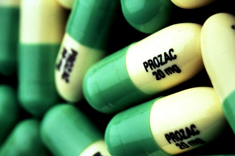 Prozac pills in pile