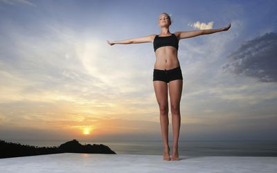 Woman doing a standing meditation