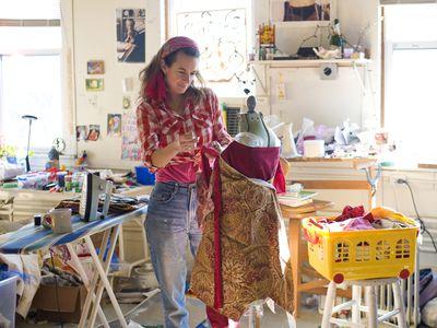 Disorganized woman making a dress