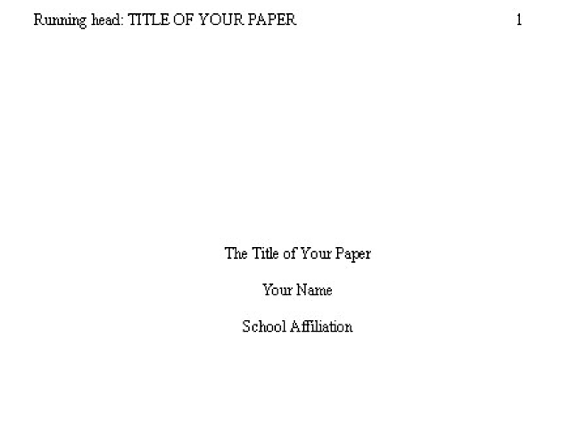 title pages for papers