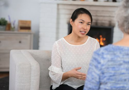 Woman speaking to her therapist