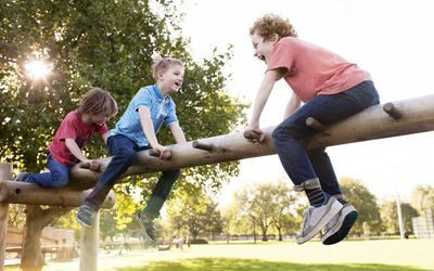 Boys playing in a park