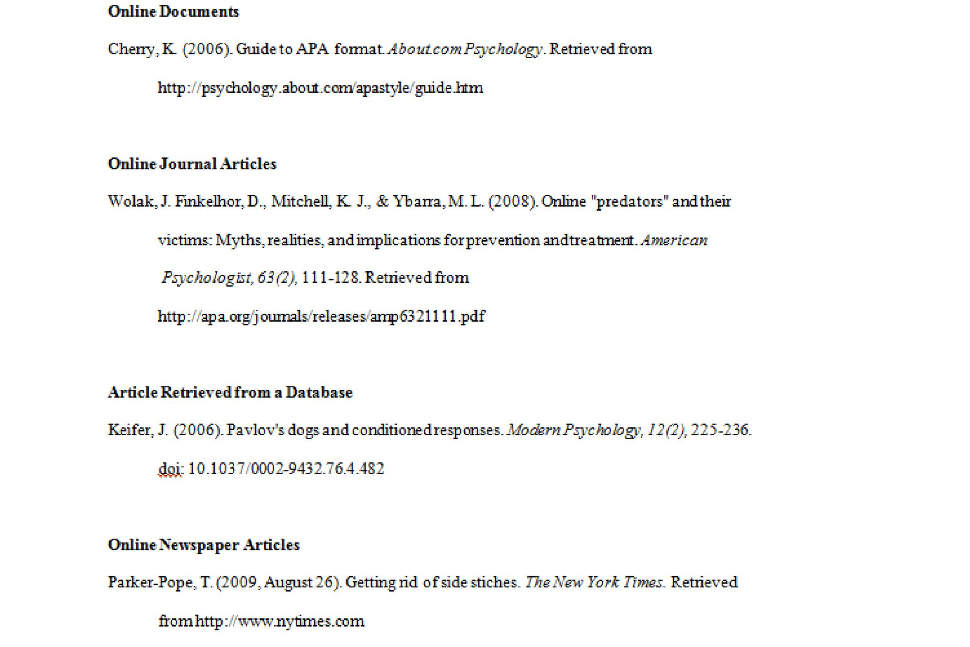 apa format examples tips and guidelines example of electronic sources in apa format