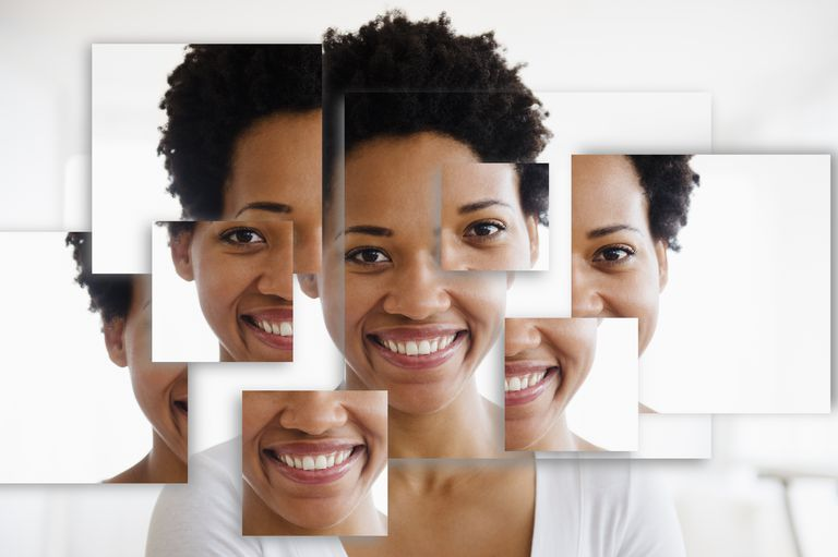 collage photo of smiling woman