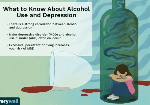 Illustration of woman sitting inside an empty bottle of wine, depressed