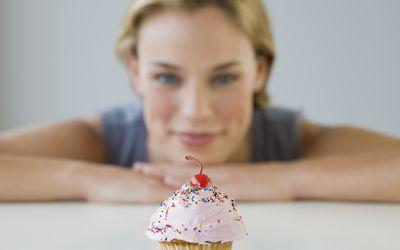 Woman delaying gratification